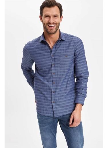 DeFacto Tek Cepli Yatay Çizgili Katlanabilir Uzun Kollu Slim Fit Gömlek Mavi